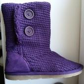 Крутые фиолетовые вязанные угги от Next, размер 4