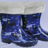"""Сапоги резиновые со съемным мехом, на мальчика синие, космос, ТМ """"Dual"""", размеры: 28, 29, 30, 31, 32"""