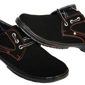 40 и 45 р Мужские туфли мокасины эко-замша черные (РТ17 ч/в)