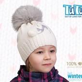 Зимняя шапка со стразами Кот, фирма TuTu шерсть мериноса