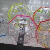 Зонт 5 видов, прозрачная клеенка, купол форма, со свистком, в пакете 50 см C12689