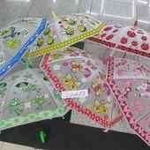 Зонт 6 видов, матовая клеенка, со свистком, в пакете 50 см C12687