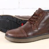 Ботинки мужские кожаные, зимние Разные цвета