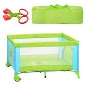 Манеж детский, 2 колеса, змейка, зелено/голубой, в сумке