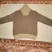 Мягкий шерстяный жаккардовый свитерок с шалевым воротником. LOGG  xl..
