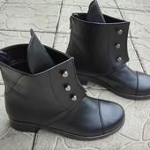 Зимние и деми натуральные сапоги Ботинки Hermes Болты. Натуральная кожа