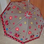 Детские зонтики полуавтомат! Со свистком, разные расцветки, длина 66см, спица 49см