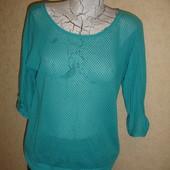 Фирменная легкая бирюзовая блуза хлопок на 48-50 размер