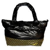 Болоньевая женская черная спортивная сумка (170-Ж)
