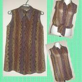 Ann taylor-блузка натуральный шелк ,геометрический принт 46-48 р- р