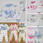 Пижамки деткам до года (см. замеры). Четыре цвета на выбор. 100% коттон