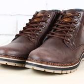 Ботинки мужские кожаные, зимние на шнурках, коричневые с замшевой вставкой