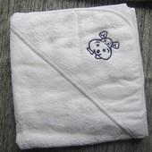 новое полотенце уголок для новорожденных 75х75 см белое мягкое не плотное