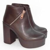 Демисезонные кожаные ботинки, коричневого цвета
