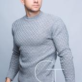 Однотонный мужской свитер   50, 52, 54