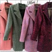 Пальто шерстяной меланжевый кашемир на подкладке