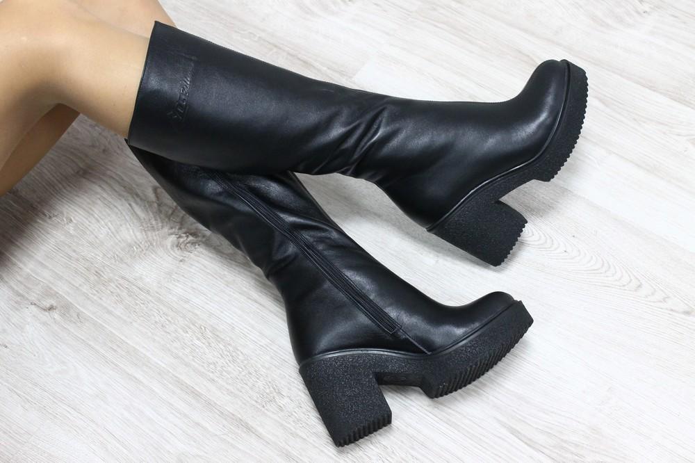 Замшевые и кожаные  сапоги 36-40р на устойчивом каблуке фото №1
