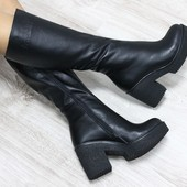 Замшевые и кожаные  сапоги 36-40р на устойчивом каблуке