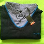 Новый свитер с воротником-рубашкой от Pierre Cardin XXL
