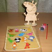 Набор для творчества - деревянная игрушка Пеппа и др. на подставке.