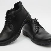 Мужские Кожаные Зимние Ботинки Y-3 Чёрные