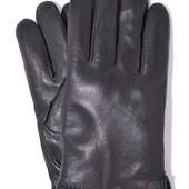 Мужские кожаные перчатки зимние на сером шерстяном меху.