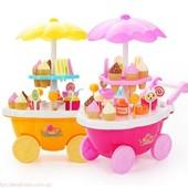 Магазин на колесах, теліжка, солодощі,39 дет., 2 види, музика , світло,на батарейках., є фото вживу