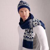 Набор шарф+шапка  теплые с норвежским узором Tchibo, тсм. Одна сторона вязаная , вторая флисовая