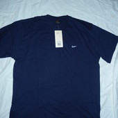 Nike хлопковая футболка XXL,на крупного парня,цвет темно-синий