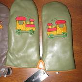 Кожаные варежки 6-7 лет на натур. меху