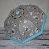 Зонтик зонт детский яркий матовый полу - прозрачный весёлый Зайки зайчики