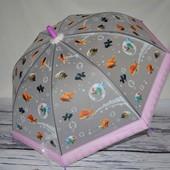 Зонтик зонт детский яркий матовый полу - прозрачный весёлый Рыбки