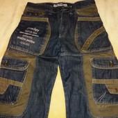 Молодежные джинсы с накладными карманами,размер 48.