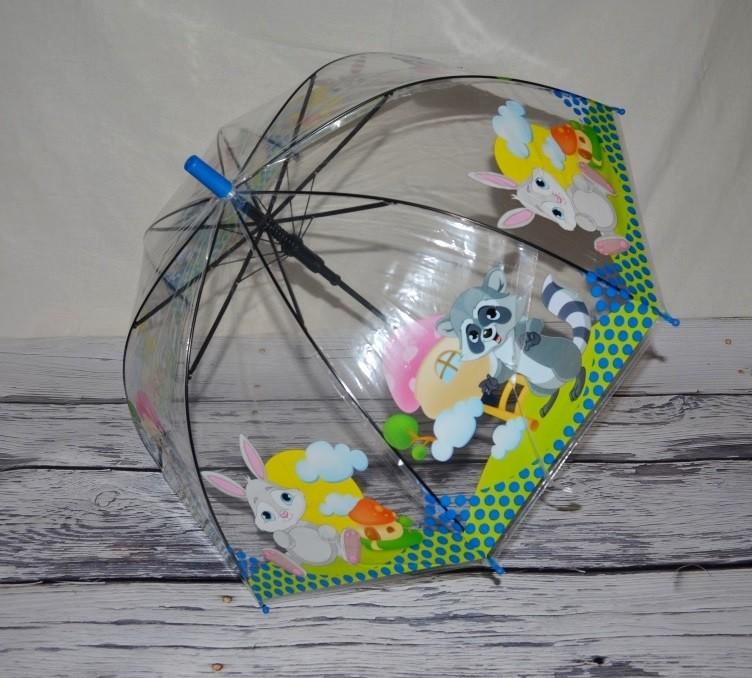 Прозрачный зонтик зонт детский для вашей малышни с Животными грибком фото №1