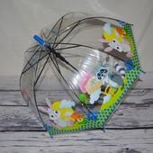 Прозрачный зонтик зонт детский для вашей малышни с Животными грибком