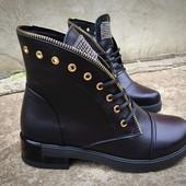 Зимние Кожаные ботинки сапожки сапоги в стиле Balmain. Натуральная кожа, внутри мех