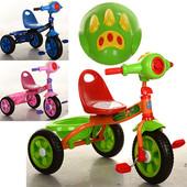 Велосипед 2 вида на  три колеса, 3 цвета (голуб.,зелен.,розов.)