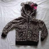 Фирменная кофта теплая худи на девочку р. 98-104 мишка с ушками хорошее сост