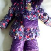 Детские зимние комбинезоны тройка с сумочкой девочкам 3 6 лет