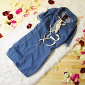 s-M Boohoo новое платье из плотного джинса на завязках!0080