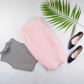 S M Теплая юбка карандаш розового цвета с шерстью