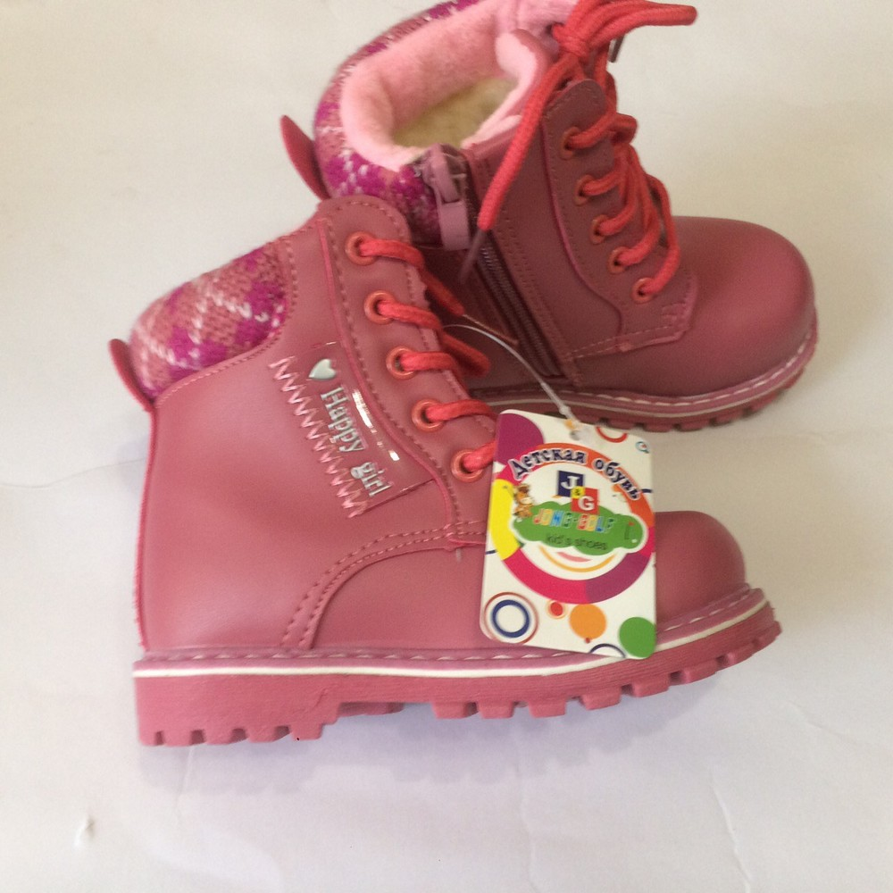 Ботинки розовые зима для девочки фото №4