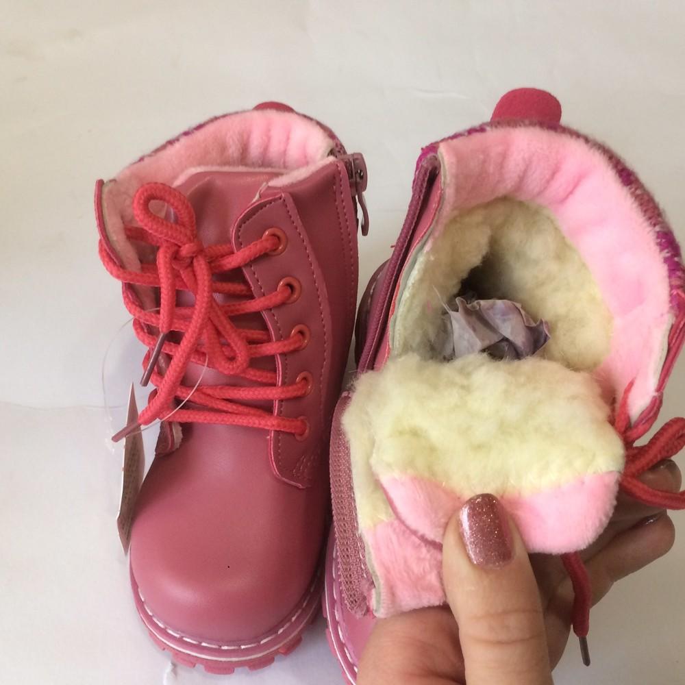 Ботинки розовые зима для девочки фото №5