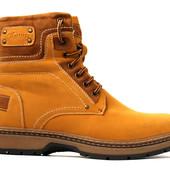 Мужские зимние ботинки на меху желтые (5А603)