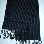 Стильный мужской шарф,черный в полоску,сток