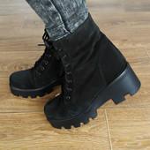 Стильные ботинки на тракторной подошве Зима Натур замш