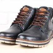 Ботинки мужские кожаные, зимние на шнурках, черные с замшевой вставкой