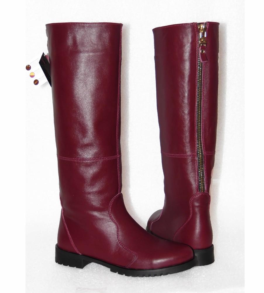 Кожаные зимние сапоги, бордового цвета фото №1