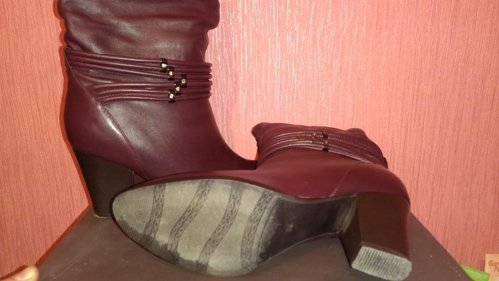 Демисезонные кожаные сапоги фото №2