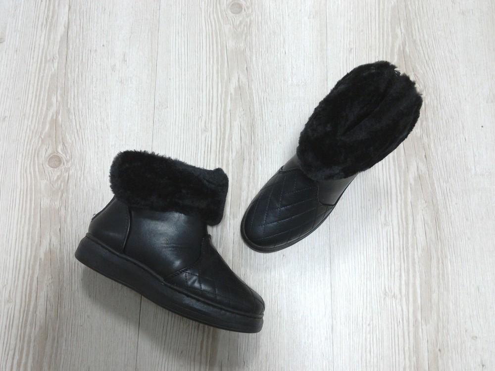"""""""зимние короткие ботинки с отворотом черные фото №2"""